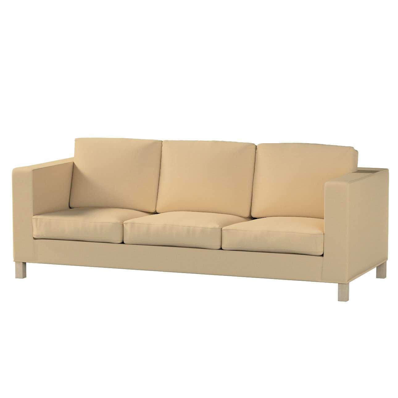 Pokrowiec na sofę Karlanda 3-osobową nierozkładaną, krótki Sofa Karlanda 3-os w kolekcji Cotton Panama, tkanina: 702-01