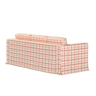 Floor length Karlanda 3-seater sofa cover 131-15 red check, ivory background Collection Avinon