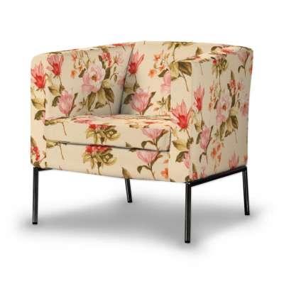 KLAPPSTA fotelio užvalkalas 123-05 gėlės gelsvai kreminiame fone Kolekcija Londres