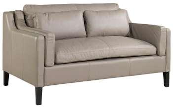 2-er Sofa aus Leder hell