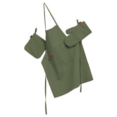 Tekstilės rinkinys virtuvei: prijuostė, puodų laikiklis ir orkaitės pirštinės 127-52 tamsiai žalia, alyvuogių spalvos Kolekcija Jupiter