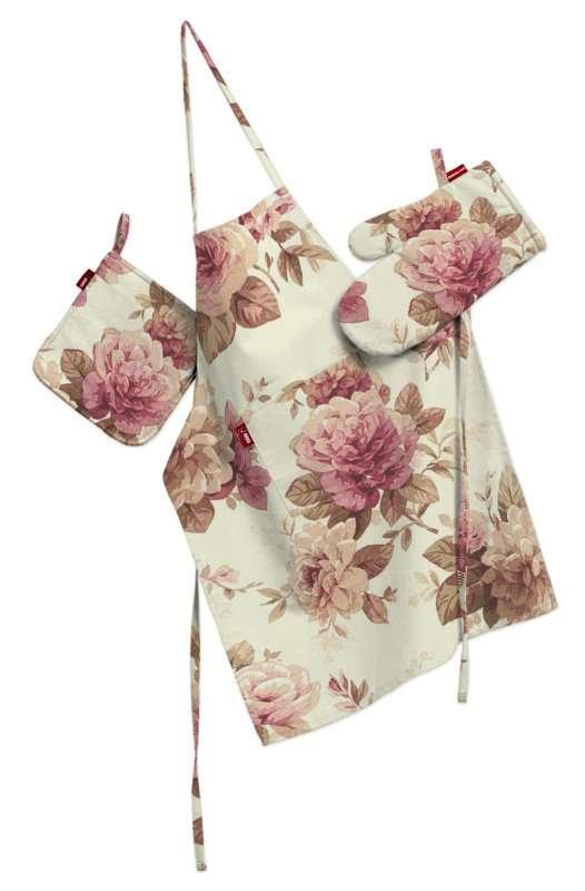 Tekstilės rinkinys virtuvei: prijuostė, puodų laikiklis ir orkaitės pirštinės Rinkinys kolekcijoje Mirella, audinys: 141-06