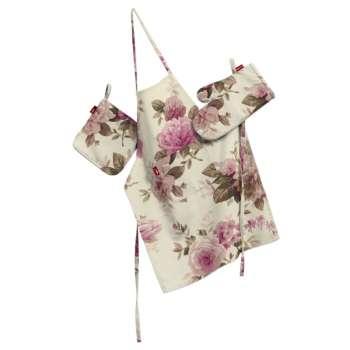Tekstilės rinkinys virtuvei: prijuostė, puodų laikiklis ir orkaitės pirštinės Rinkinys kolekcijoje Mirella, audinys: 141-07