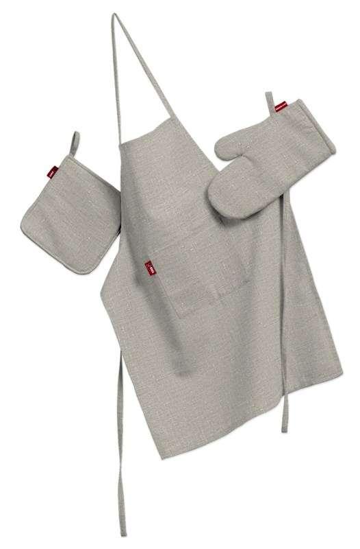 Komplet kuchenny łapacz, rękawica oraz fartuch kpl w kolekcji Linen, tkanina: 392-05