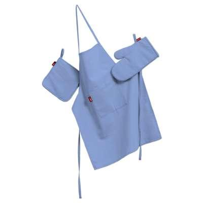 Keukenset: schort, handschoenen, pannenlap 133-21 blauw Collectie Loneta