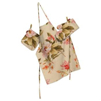 Tekstilės rinkinys virtuvei: prijuostė, puodų laikiklis ir orkaitės pirštinės