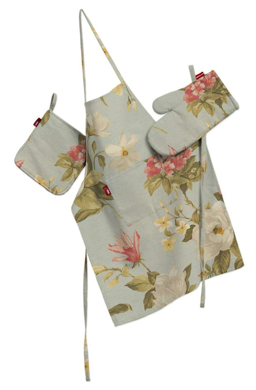 Komplet kuchenny fartuch,rękawica i łapacz kpl w kolekcji Londres, tkanina: 123-65