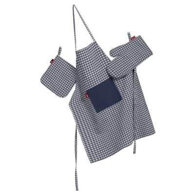 Komplet kuchenny fartuch,rękawica i łapacz 136-00 granatowo biała krateczka (0,5x0,5cm) Kolekcja Quadro