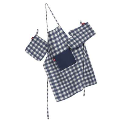 Tekstilės rinkinys virtuvei: prijuostė, puodų laikiklis ir orkaitės pirštinės 136-01 Tamsiai mėlyni ir šviesūs langeliai (1,5x1,5cm), audinys turi natūralų švelnų pasibangavimą Kolekcija Quadro