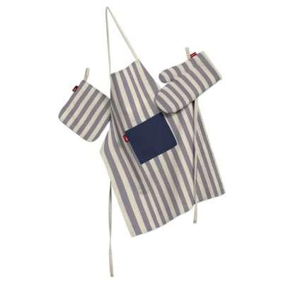 Keukenset: schort, handschoenen, pannenlap 136-02 marineblauw-ecru  Collectie Quadro