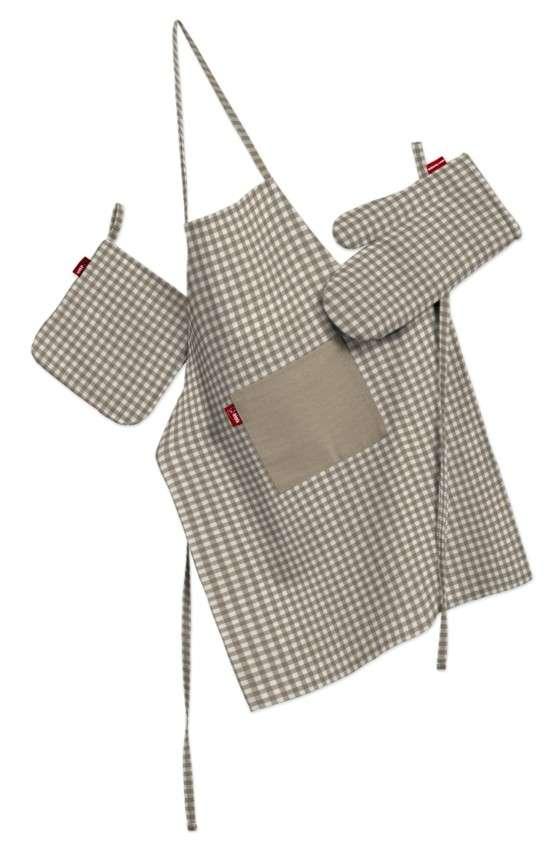 Tekstilės rinkinys virtuvei: prijuostė, puodų laikiklis ir orkaitės pirštinės Rinkinys kolekcijoje Quadro, audinys: 136-05