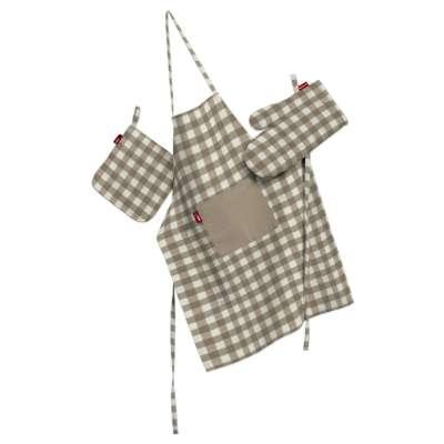 Komplet kuchenny fartuch,rękawica i łapacz 136-06 beżowo biała kratka (1,5x1,5cm) Kolekcja Quadro