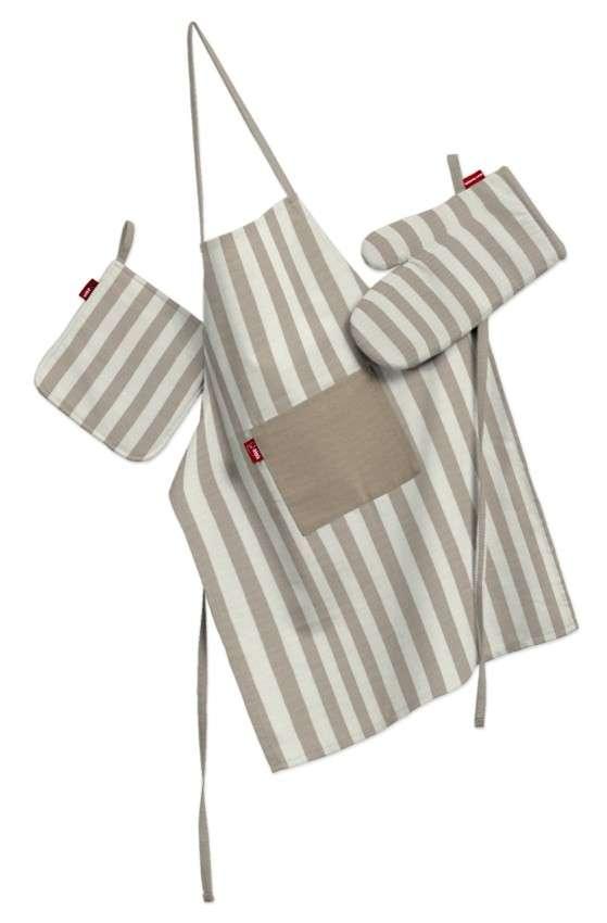 Tekstilės rinkinys virtuvei: prijuostė, puodų laikiklis ir orkaitės pirštinės Rinkinys kolekcijoje Quadro, audinys: 136-07