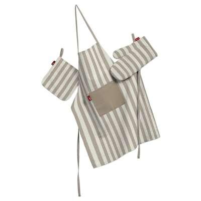 Küchenset: Schürze, Handschuh, Topflappen 136-07 hellbraun-ecru  Kollektion Quadro