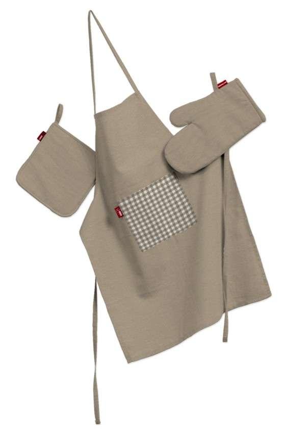 Tekstilės rinkinys virtuvei: prijuostė, puodų laikiklis ir orkaitės pirštinės Rinkinys kolekcijoje Quadro, audinys: 136-09