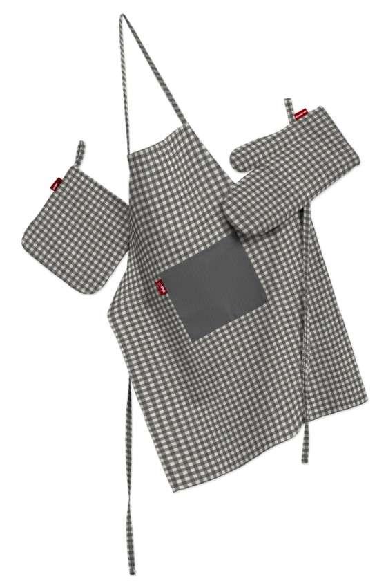 Tekstilės rinkinys virtuvei: prijuostė, puodų laikiklis ir orkaitės pirštinės Rinkinys kolekcijoje Quadro, audinys: 136-10