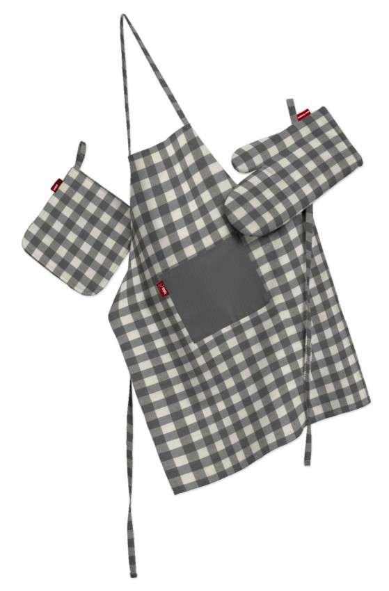 Tekstilės rinkinys virtuvei: prijuostė, puodų laikiklis ir orkaitės pirštinės Rinkinys kolekcijoje Quadro, audinys: 136-11