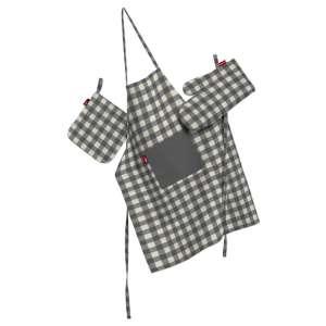 Komplet kuchenny łapacz, rękawica oraz fartuch kpl w kolekcji Quadro, tkanina: 136-11