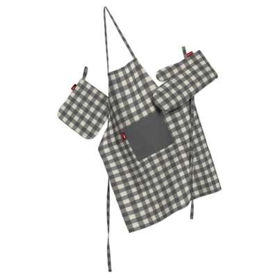 Küchenset: Schürze, Handschuh, Topflappen 136-11 grau-ecru  Kollektion Quadro