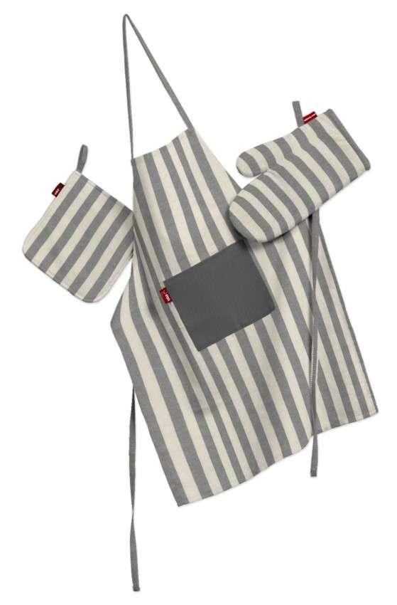 Küchenset: Schürze, Handschuh, Topflappen Set von der Kollektion Quadro, Stoff: 136-12