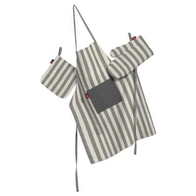 Küchenset: Schürze, Handschuh, Topflappen 136-12 grau-ecru  Kollektion Quadro