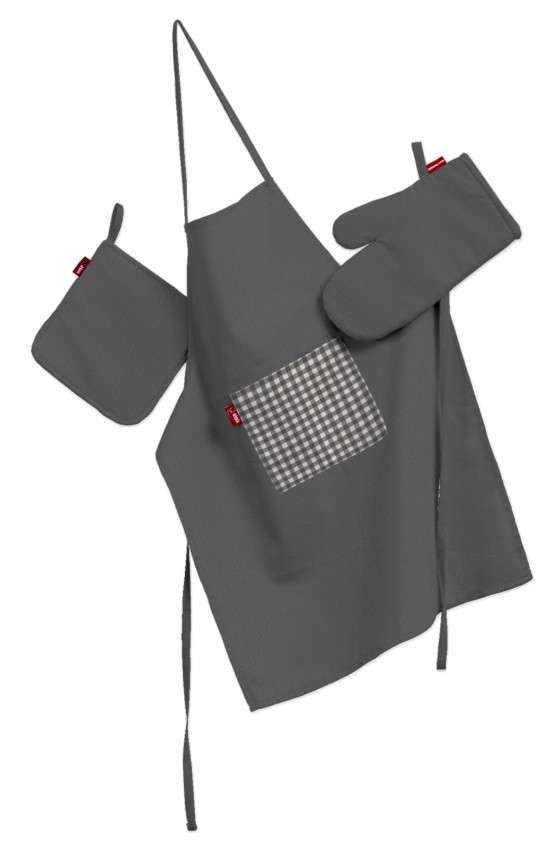 Tekstilės rinkinys virtuvei: prijuostė, puodų laikiklis ir orkaitės pirštinės Rinkinys kolekcijoje Quadro, audinys: 136-14