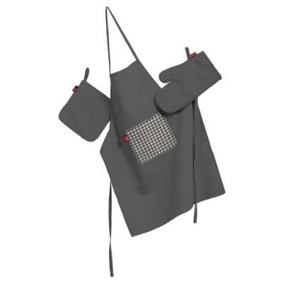Küchenset: Schürze, Handschuh, Topflappen 136-14 grau Kollektion Quadro