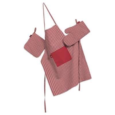 Keukenset: schort, handschoenen, pannenlap 136-15 rood-ecru  Collectie Quadro