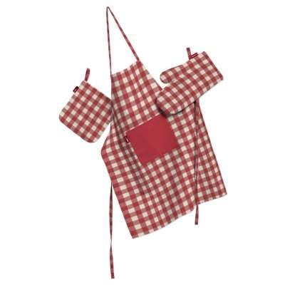 Tekstilės rinkinys virtuvei: prijuostė, puodų laikiklis ir orkaitės pirštinės 136-16 Raudoni ir šviesūs kvadratai (1,5x1,5cm), audinys turi natūralų švelnų  pasibangavimą Kolekcija Quadro