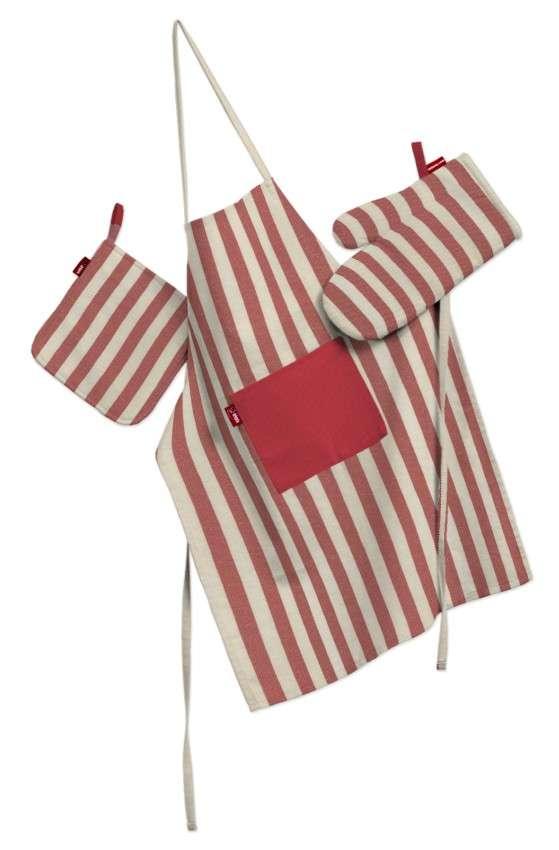 Tekstilės rinkinys virtuvei: prijuostė, puodų laikiklis ir orkaitės pirštinės Rinkinys kolekcijoje Quadro, audinys: 136-17