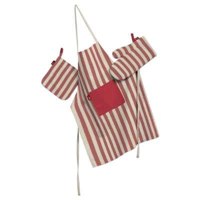 Tekstilės rinkinys virtuvei: prijuostė, puodų laikiklis ir orkaitės pirštinės 136-17 raudonos ir šviesios juostelės (1,5cm), audinys turi natūralų švelnų pasibangavimą Kolekcija Quadro