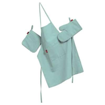 Küchenset: Schürze, Handschuh, Topflappen 133-32 aqua-blau Kollektion Loneta