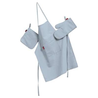 Tekstilės rinkinys virtuvei: prijuostė, puodų laikiklis ir orkaitės pirštinės 133-35 pastelinė žydra/dangaus Kolekcija Loneta