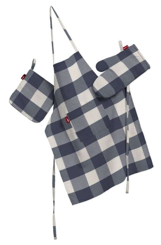 Küchenset: Schürze, Handschuh, Topflappen Set von der Kollektion Quadro, Stoff: 136-03