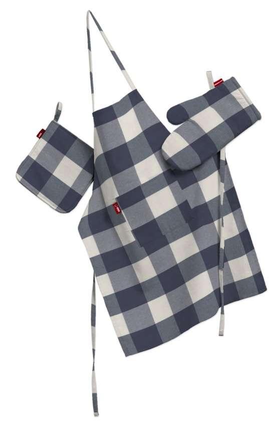Tekstilės rinkinys virtuvei: prijuostė, puodų laikiklis ir orkaitės pirštinės Rinkinys kolekcijoje Quadro, audinys: 136-03