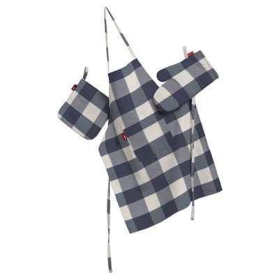 Tekstilės rinkinys virtuvei: prijuostė, puodų laikiklis ir orkaitės pirštinės 136-03 Tamsiai mėlyni ir balti langeliai (5,5x5,5cm), audinys turi natūralų švelnų pasibangavimą  Kolekcija Quadro