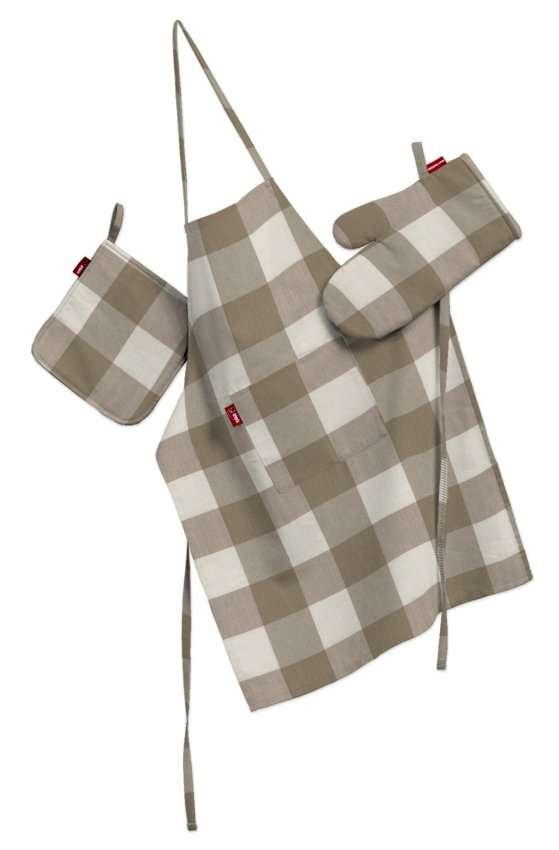 Tekstilės rinkinys virtuvei: prijuostė, puodų laikiklis ir orkaitės pirštinės Rinkinys kolekcijoje Quadro, audinys: 136-08