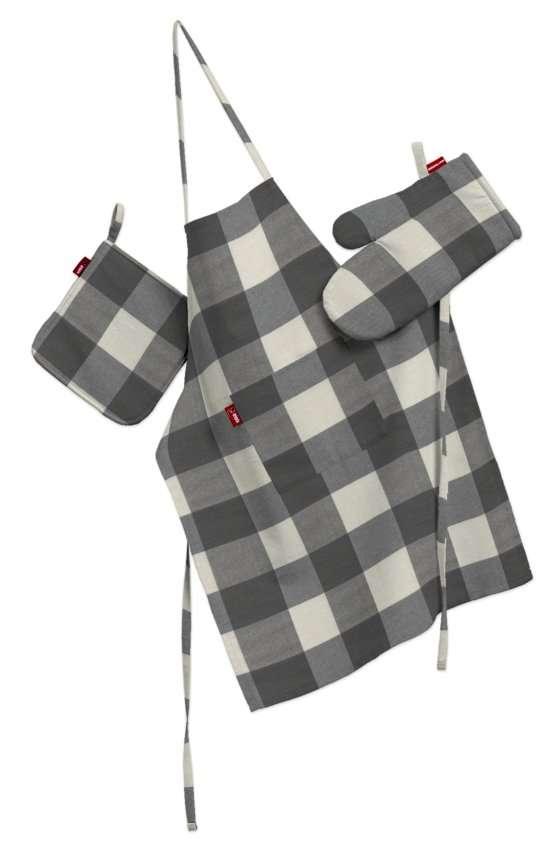 Komplet kuchenny łapacz, rękawica oraz fartuch kpl w kolekcji Quadro, tkanina: 136-13