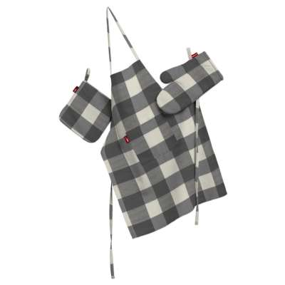 Keukenset: schort, handschoenen, pannenlap 136-13 wit-grijs geruit Collectie Quadro