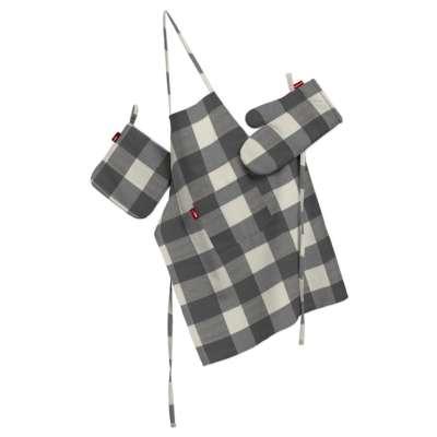 Tekstilės rinkinys virtuvei: prijuostė, puodų laikiklis ir orkaitės pirštinės 136-13 Pilki ir šviesūs kvadratai (5,5x5,5cm), audinys turi natūralų švelnų pasibangavimą  Kolekcija Quadro