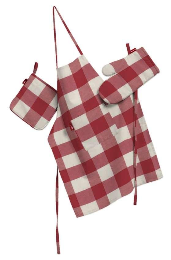 Tekstilės rinkinys virtuvei: prijuostė, puodų laikiklis ir orkaitės pirštinės Rinkinys kolekcijoje Quadro, audinys: 136-18