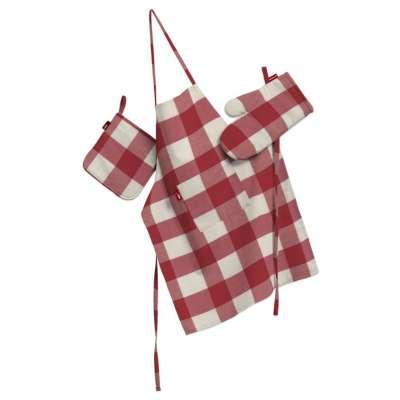Keukenset: schort, handschoenen, pannenlap 136-18 wit-rood ruit Collectie Quadro