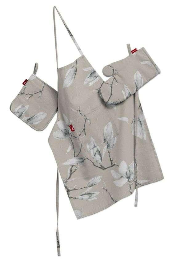 Tekstilės rinkinys virtuvei: prijuostė, puodų laikiklis ir orkaitės pirštinės Rinkinys kolekcijoje Flowers, audinys: 311-12