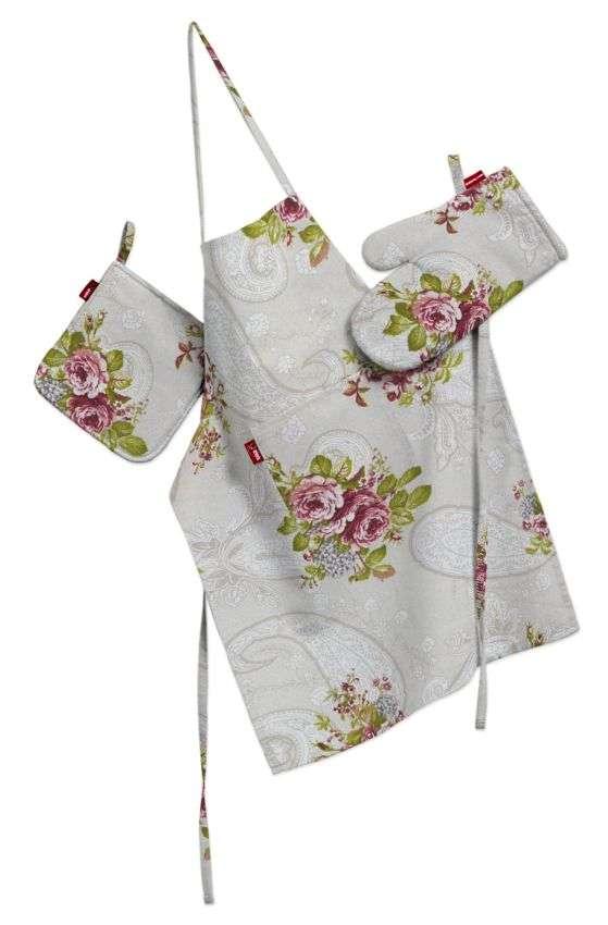 Küchenset: Schürze, Handschuh, Topflappen von der Kollektion Flowers, Stoff: 311-15