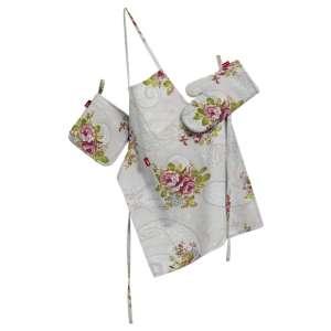 Komplet kuchenny łapacz, rękawica oraz fartuch kpl w kolekcji Flowers, tkanina: 311-15