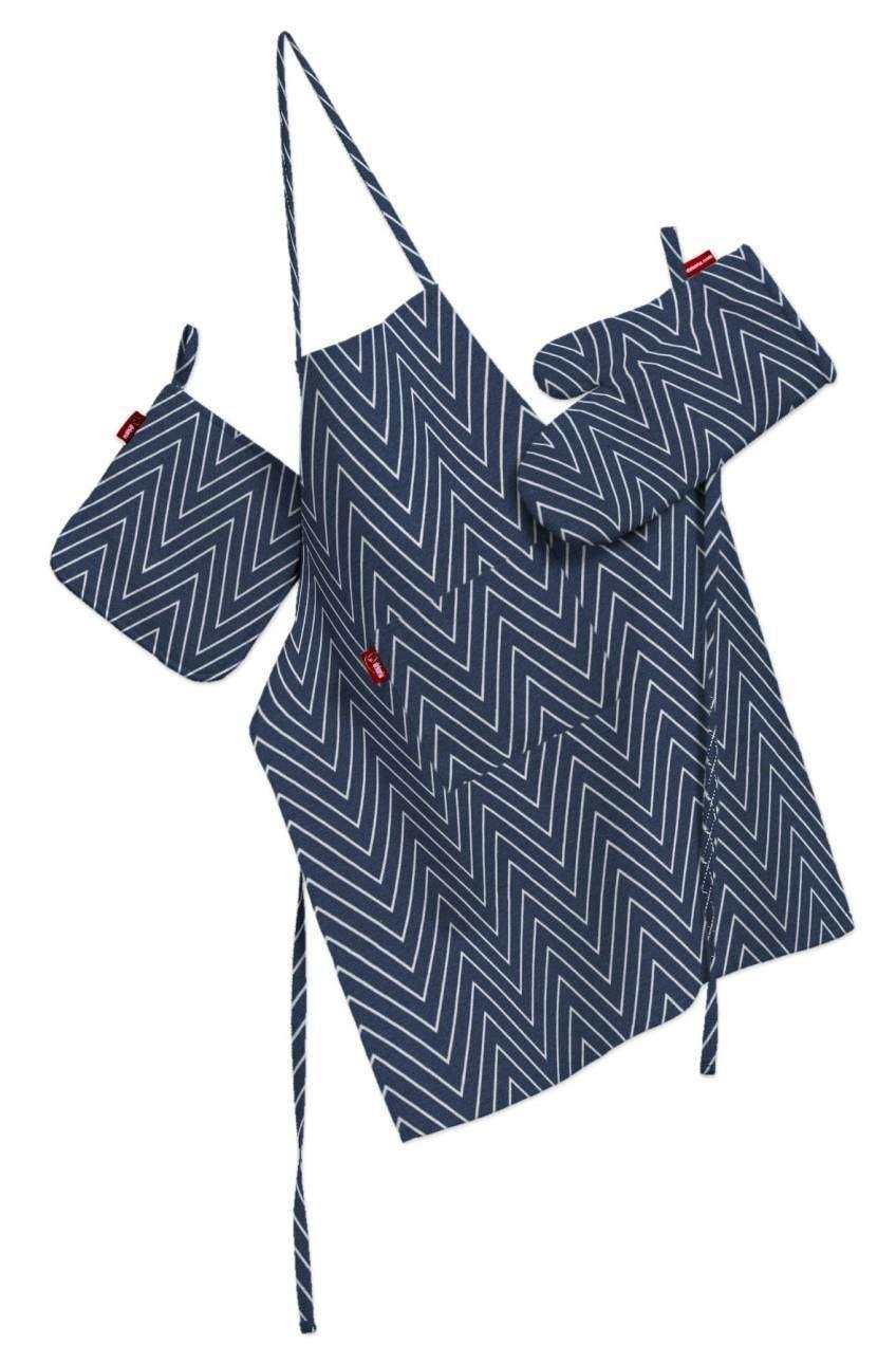 Komplet kuchenny łapacz, rękawica oraz fartuch kpl w kolekcji Brooklyn, tkanina: 137-88