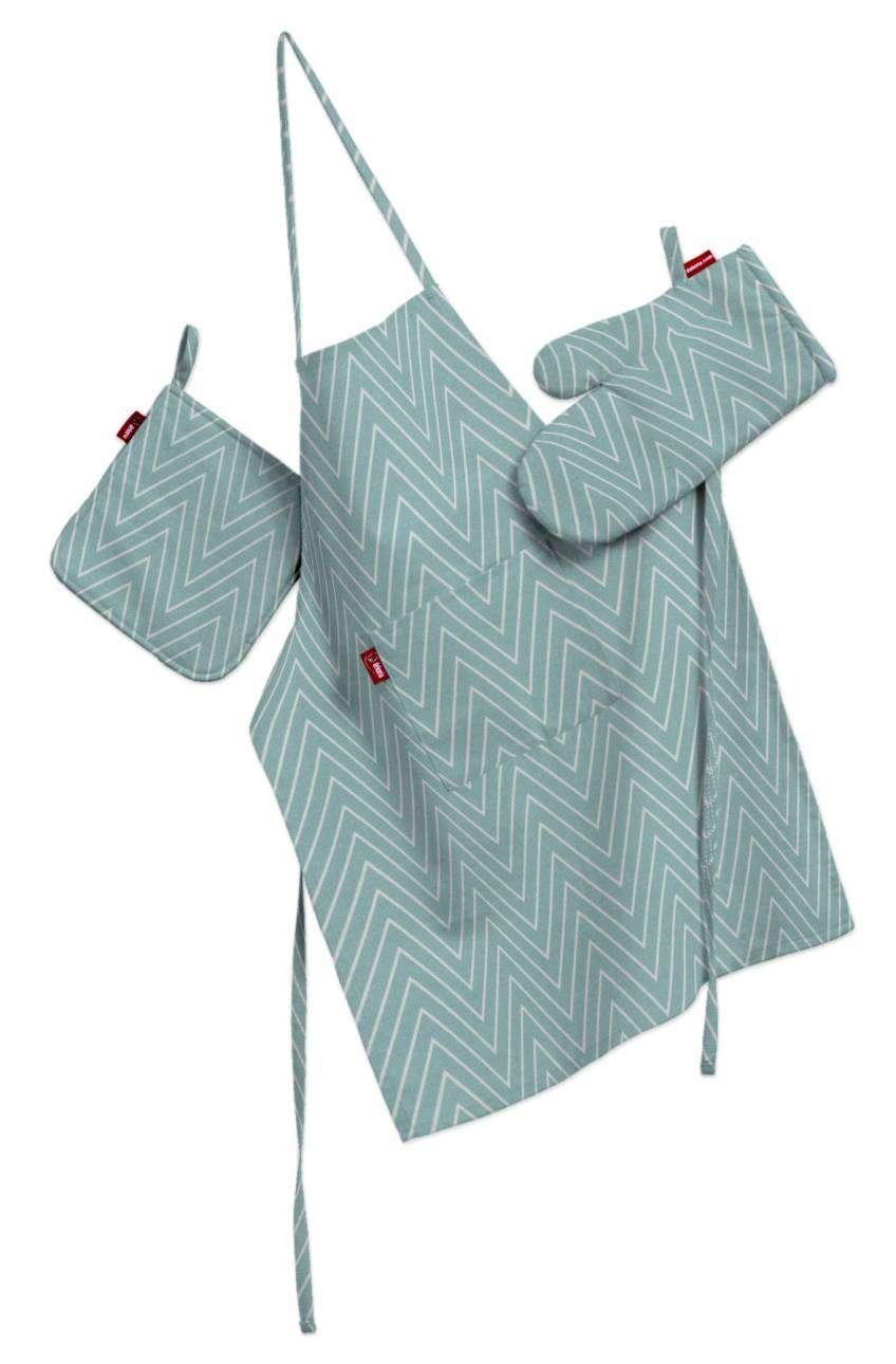 Tekstilės rinkinys virtuvei: prijuostė, puodų laikiklis ir orkaitės pirštinės Rinkinys kolekcijoje Brooklyn, audinys: 137-90