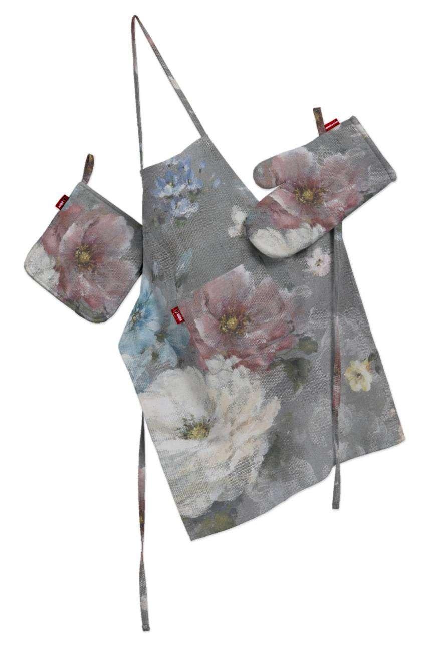 Küchenset: Schürze, Handschuh, Topflappen Set von der Kollektion Monet, Stoff: 137-81