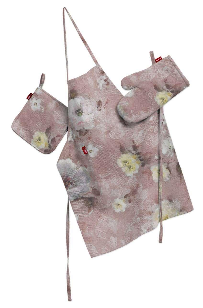 Komplet kuchenny łapacz, rękawica oraz fartuch kpl w kolekcji Monet, tkanina: 137-83