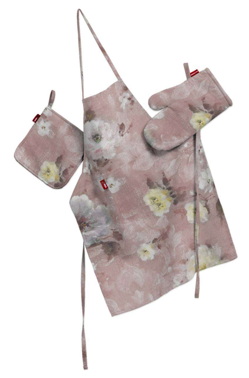 Tekstilės rinkinys virtuvei: prijuostė, puodų laikiklis ir orkaitės pirštinės Rinkinys kolekcijoje Monet, audinys: 137-83